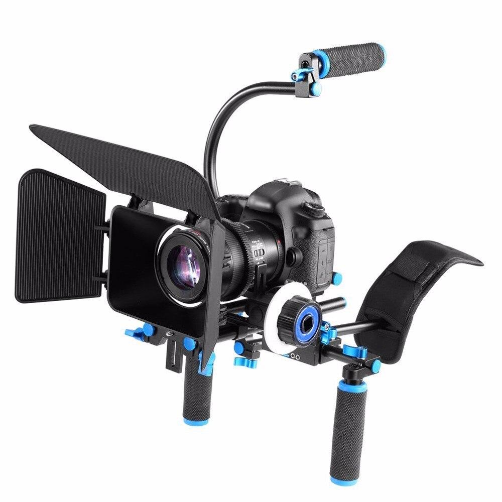 Equipo de hombro DSLR Cámara equipo de soporte de película sigue el enfoque caja mate para Canon Nikon Sony BMCC GH4 videocámara