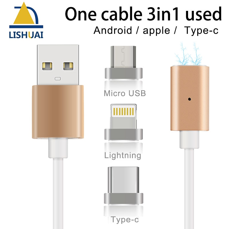 Cable magnético USB de carga rápida de Cable cargador magnético fuerte para Apple iPhone/micro-usb/tipo-c