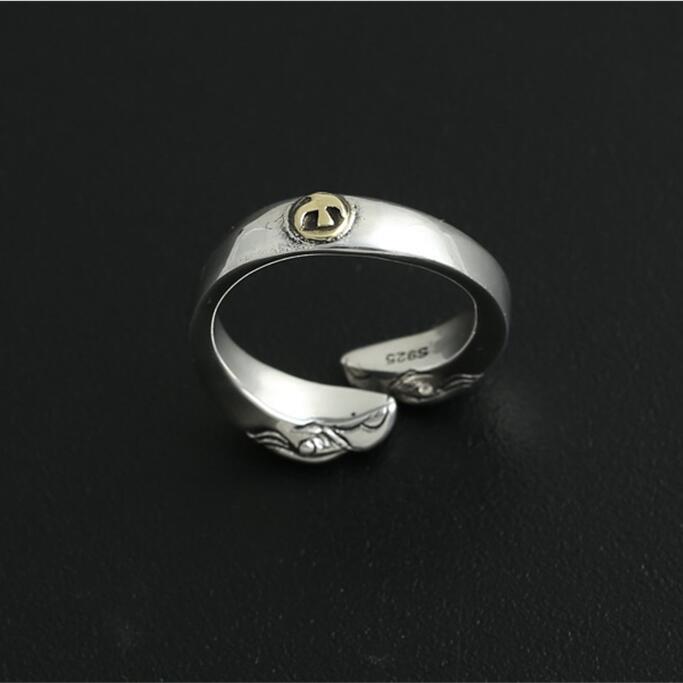 8,4g sólida plata 925 anillo de diseño de doble águila para Hombres estilo indio Vintage hecho a mano joyería de diseño 100% plata 925