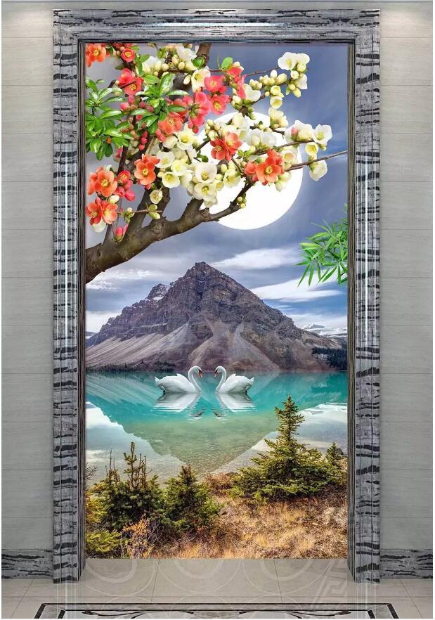Mural de Foto personalizado papel pintado 3d en una pared Alpine romántico lago Cisne paisaje porche sala de estar decoración del hogar papel tapiz para las paredes 3 d