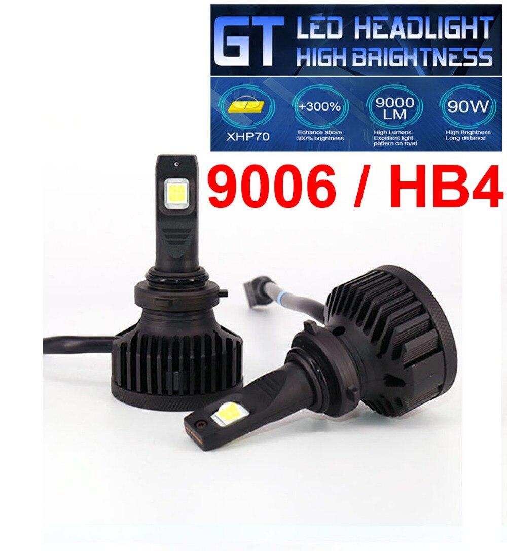 1 juego 9006 HB4 XHP70 Chips de lente serie GT faro LED de coche 90W 9000LM alto brillo EMC Turbo ventilador bombilla delantera lámpara 6000K blanco