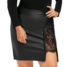 CHAMSGEND Women Fashion Girls Work OL Skirt Leather Lace Uniform Pleated Skirt Drop Shipping 1M8*