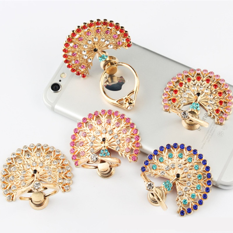 Soporte de diamante de pavo real para teléfono móvil, anillo de dedo de rotación de 360 grados, soporte Universal para IPhone X 7 Plus, Samsung, Xiaomi