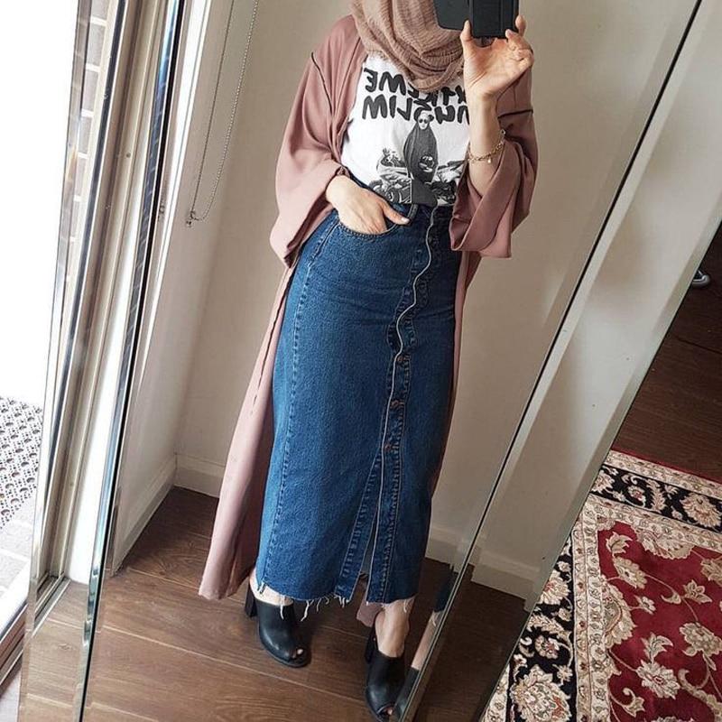 Faldas Mujer Moda 2019 de talla grande Abaya Dubai musulmana mujeres Falda larga de mezclilla turco islámico Casual Jeans Bodycon Maxi Faldas