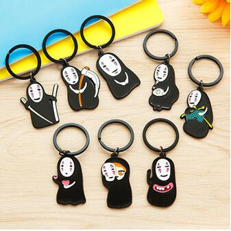 80pcs Japanese Studio Ghibli Miyazaki Hayao Anime Spirited Away Kaonashi Cute Keychain No Face Iron Key ring Pendant Kids Toy