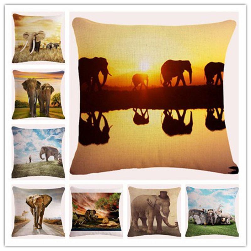 Наволочка Африка слон диванная подушка хлопковое постельное бельё декоративный диван спальня офис Домашний пледы наволочка