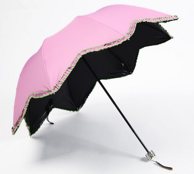 Gran oferta, hoja de arce, Apollo, Princesa, volante, vinilo opaco, Bumbershoot, pintura negra de alta calidad, tres paraguas UV plegables