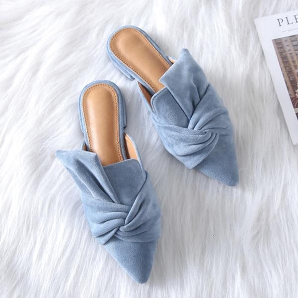 Dropshipping Boussac Elegant Bowtie Women Mules Pointed Toe Flat Shoes for Women Fashion Slip on Shoes Women 41 Plus Size