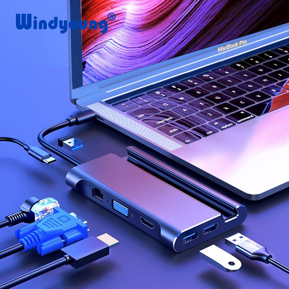 USB C док-станция для ноутбука Thunderbolt 3 HDMI VGA RJ45 PD адаптер с подставкой для телефона MacBook Pro Huawei P30 USB C HUB