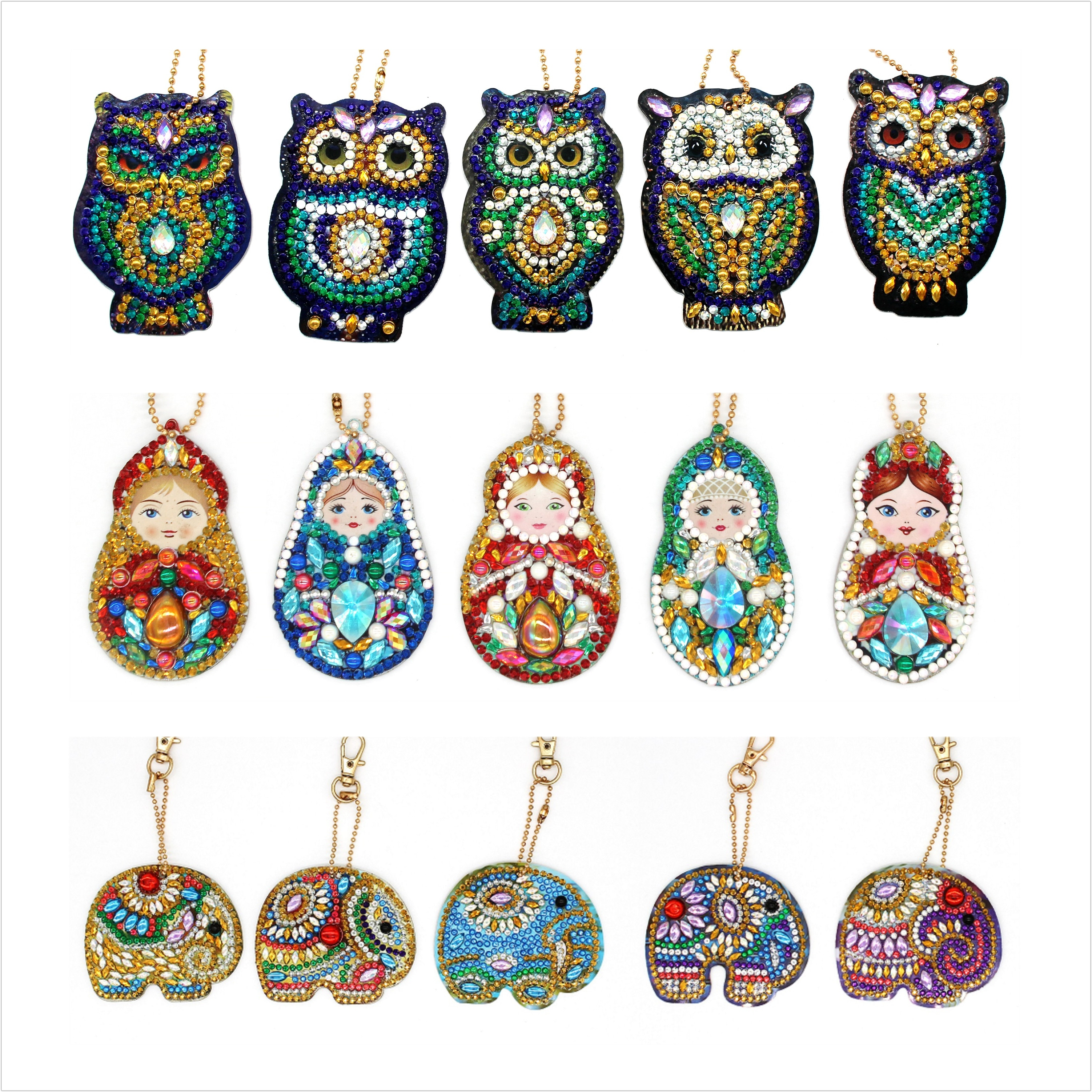 Muñeca rusa búho Diy llavero de diamante pintura mosaico regalo de Navidad 5 uds Diy completamente especial taladro mujer chica joyería llavero