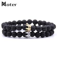 Noter 2pcs/set Natural Stone Bracelet Men Women 9 Colors Beaded Braslet Micro Crystal Crown Brazalete Distance Couple Braclet