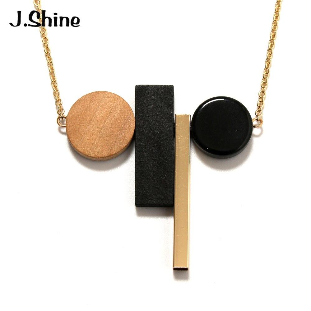 JShine joyería étnica redonda de madera collar de extracto de resina geometría collares de cadena suéter colgantes para las mujeres Accesorios