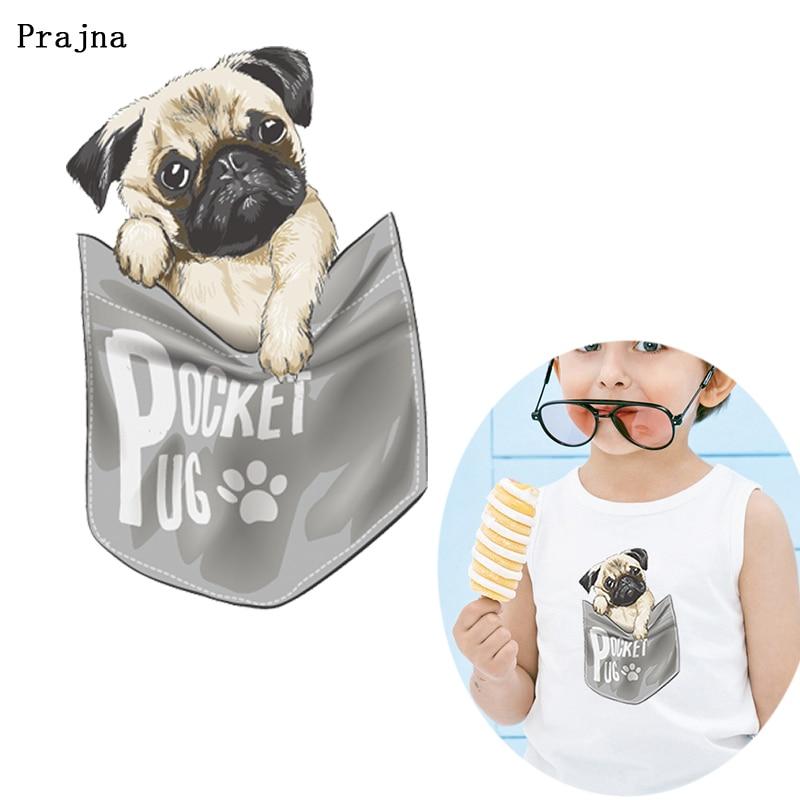 Prajna bolsillo perro vinilo Transferencia de Calor DIY dibujos animados Animal transferencia para ropa conejo gato pegatinas térmicas Ropa Decoración insignia F