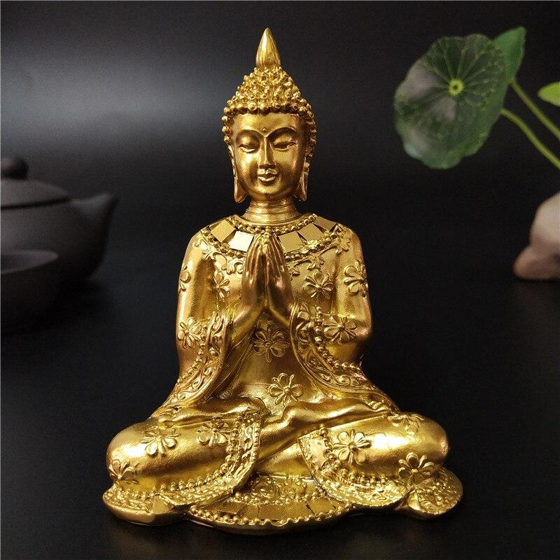 Estatua de Buda de Tailandia dorada, decoración del jardín del hogar, escultura de Buda de meditación, figuritas de Fengshui hindú, adornos artesanales