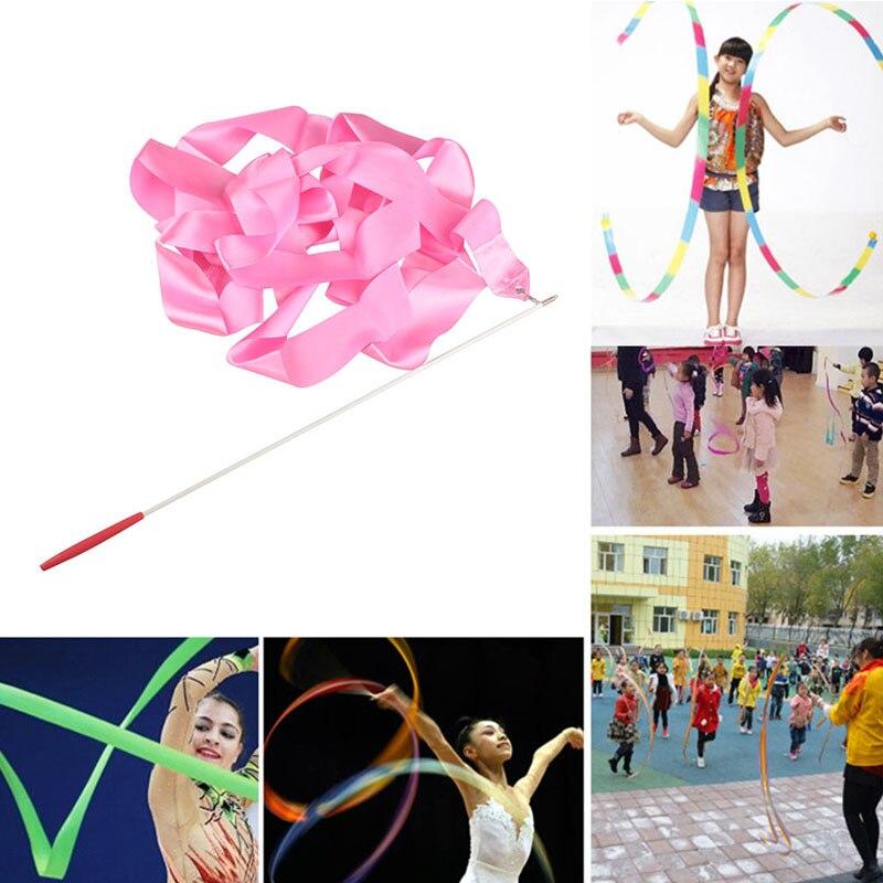Cinta de Gimnasia Rítmica 4M colorida, arte Gimnasio, cinta de Ballet, cinta gimnástica giratoria para patinaje de figura, entrenamiento de gimnasia
