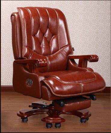 computer chair can lie lifting boss chair leather swivel chair Real leather boss chair. Can lie high - grade massage computer chair. Home office chair real wood swivel chair..08