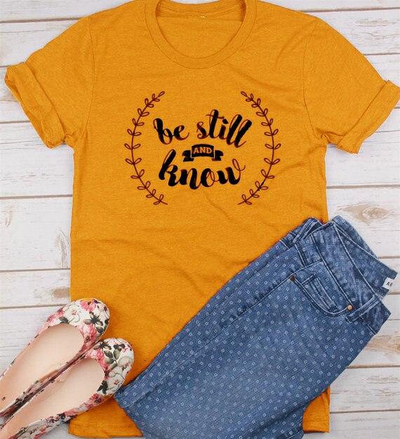 Senhoras Manga Curta Tee Seja Ainda e Saiba Christian T-Shirt Jesus Amarelo Roupas Topos Grunge Gráfico Tops Bonito Impresso Roupas