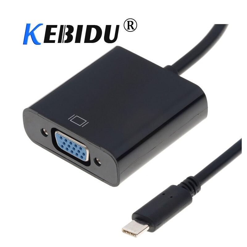 Kebidu novo tipo c para vga conversor de cabo usb 3.1 macho para vga fêmea vídeo conversor para apple macbook chromebook pixel