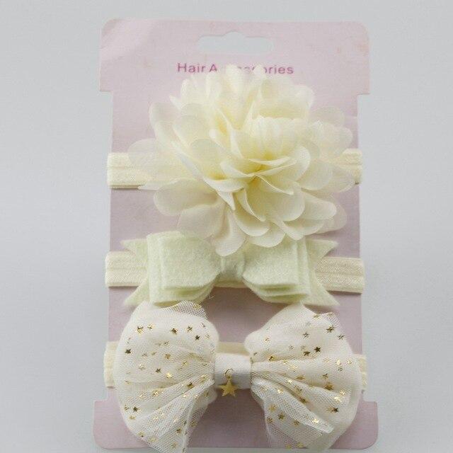 3Pcs Baby Elastic flower headband Headbands Hair Girls Bebe Bowknot Hairband Toddler Infants accessories set photography props 2