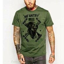 Military T Shirt Army Navy Marines Machine Gunner Sniper Paratrooper Infantry New Brand-clothing Grey