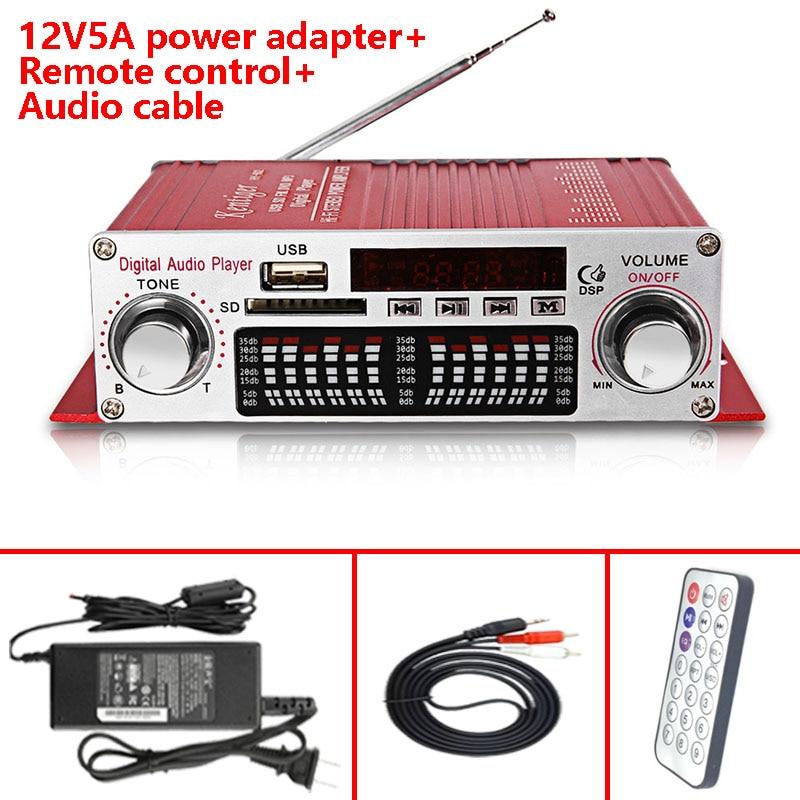 Kentiger HY-602 con 12V5A adaptador de corriente + Cable de Audio + IR Control amplificador Mini portátil pantalla LED USB SD FM jugador Amp