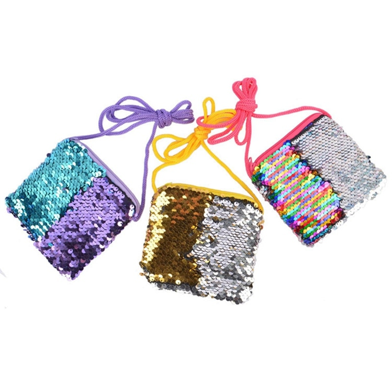Bolso para niños, Mini bolso de lentejuelas con cremallera, bolsos cruzados, bandolera de hombro a la moda, monederos cuadrados pequeños para niñas