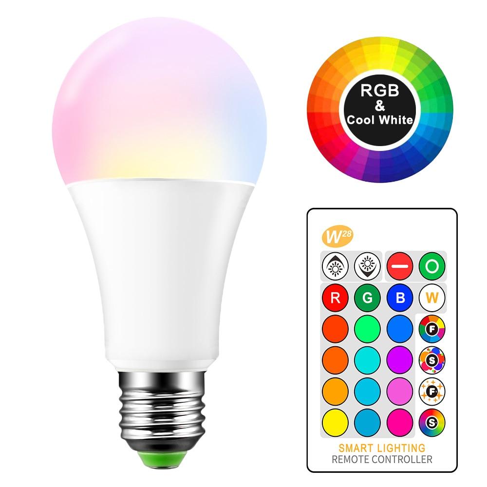 Bombilla LED E27, 5W, 10W, 15W, RGB + blanco, lámpara LED de 16 colores, AC85-265V, Bombilla RGB cambiable, con Control remoto + función de memoria