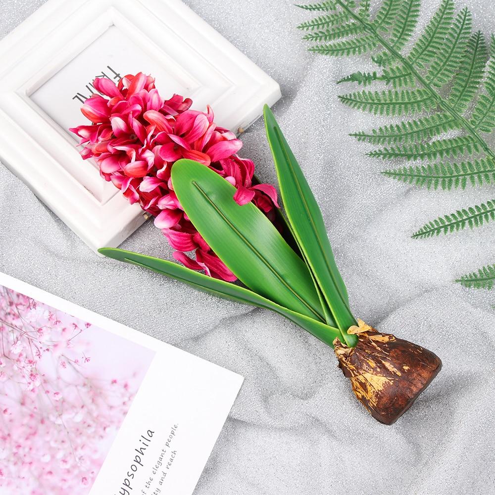 1 unidad de Jacinto de flores artificiales con bombillas de cerámica simulación de flor en seda hoja decoración de jardín de boda decoración de hogar planta de Accesorios de mesa