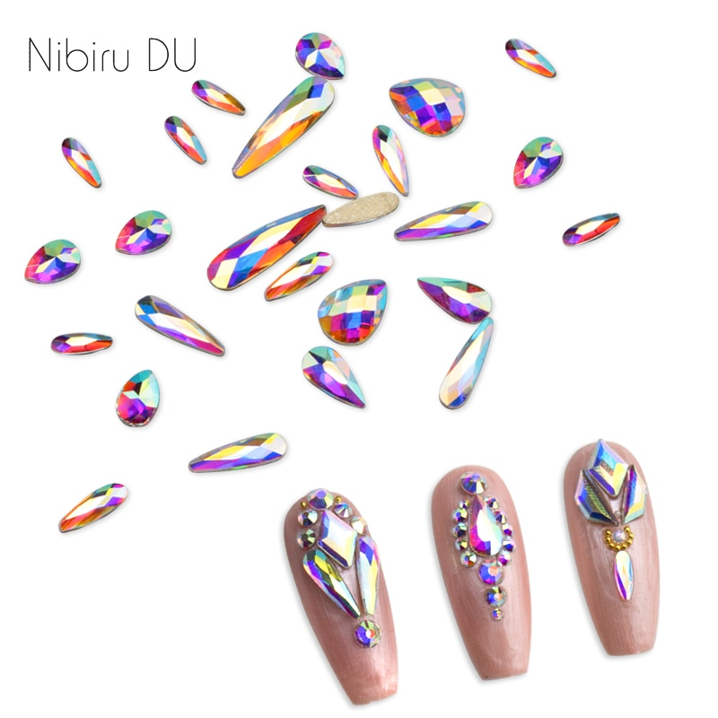 20 piedras de Cristal AB en forma de lágrima, cristales de uñas en forma de gota, diamantes de imitación con parte posterior plana para decoraciones de Arte de cristal 3D Diseño de uñas