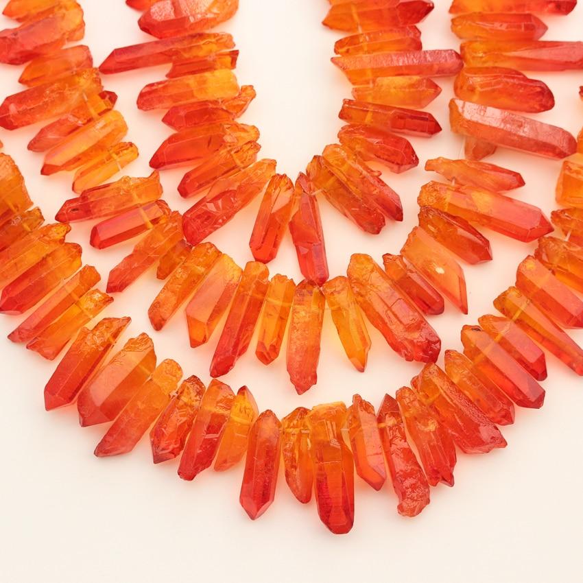 Naranja, rojo, cristal, puntos de cuarzo, cuentas de joyería, barra perforada superior, colgante de perlas sueltas, collar