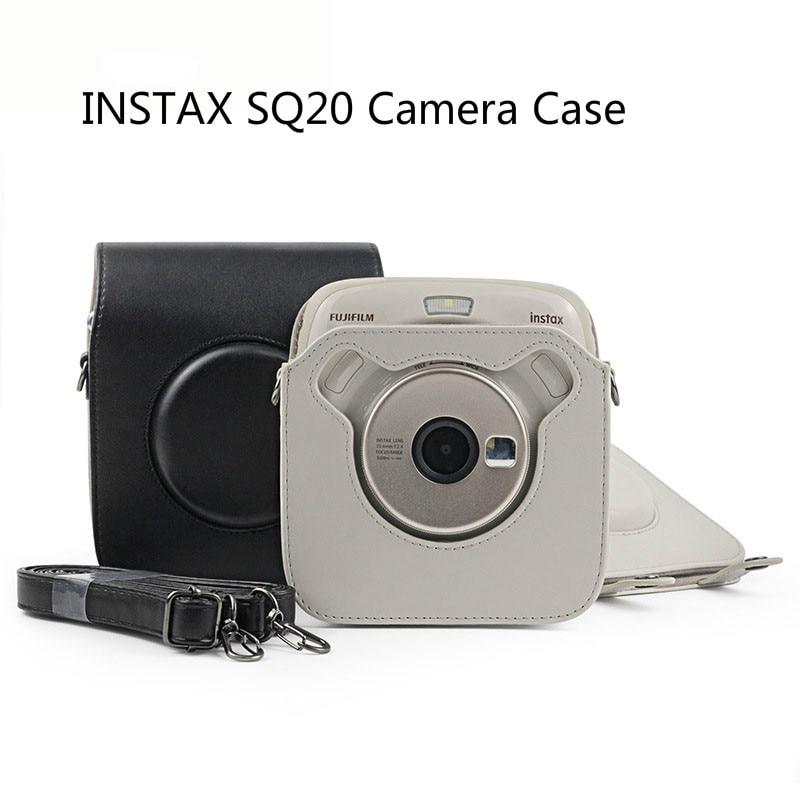 FUJIFILM Instax-bolsa cuadrada SQ20 para cámara, funda Vintage de cuero PU, correa...