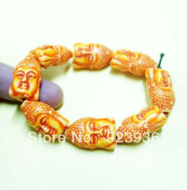 10 pcs TIBET MONK BUDDHA HEAD BEADS YAK BONE LUCKY TOTEM AMULET BRACELET