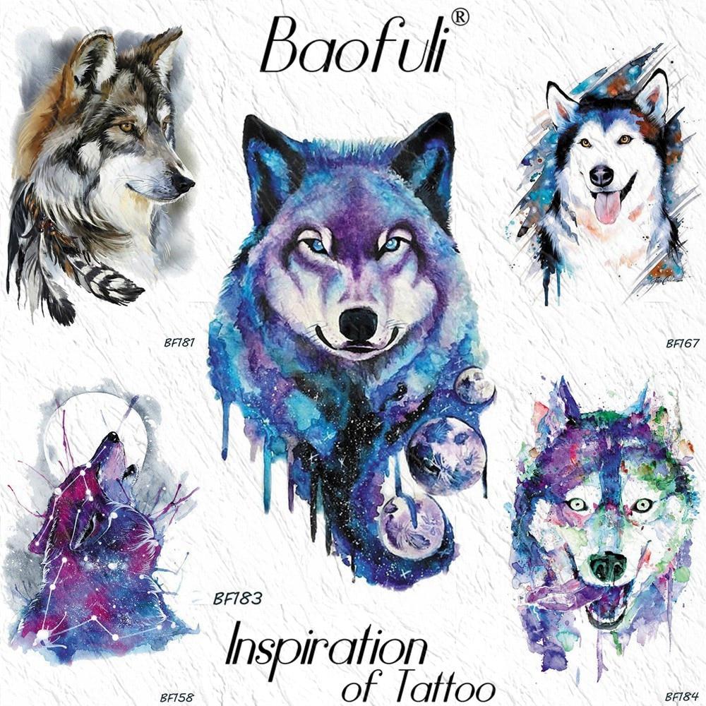 Baofuli galaxia Lobo planetas árbol de las estrellas acuarela púrpura tatuaje temporal Luna Tribal impermeable tatuaje para arte corporal tatuajes en el brazo