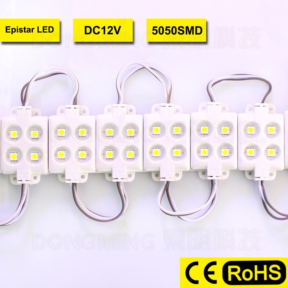20 PZ Impermeabile IP65 SMD 5050 Ha Condotto il Modulo 12 V 4 Led Ad Alta Luminosità Per Led Canale Lettera Advertising Sign, bianco, free libero