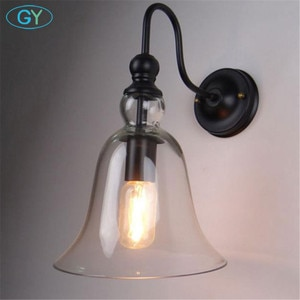 AC100-240V Clear Glass Bell lampshade Wall light fixture Sconce edison incandescent light lustres home Lamp on the wall sconces