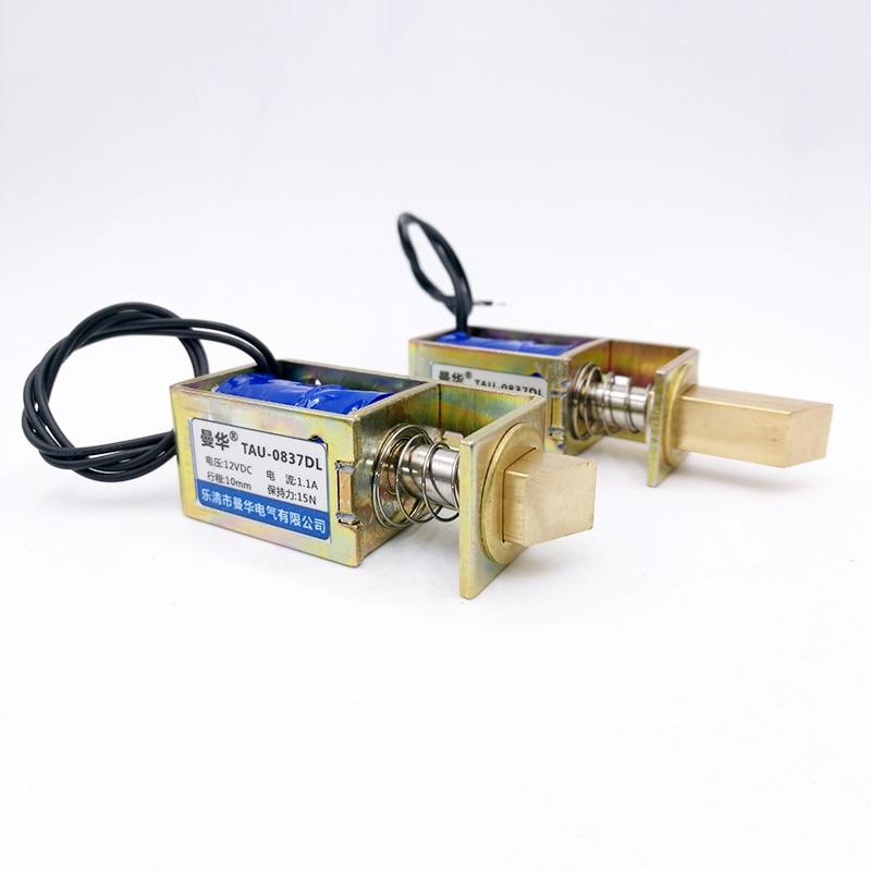 מנעול מגנטי dc 6V 12V 24V חשמלי נעילה אלקטרומגנטית דלת מנעול כוח 15N/10N שבץ 10mm יניארי נעילת סולנואיד S0837DL
