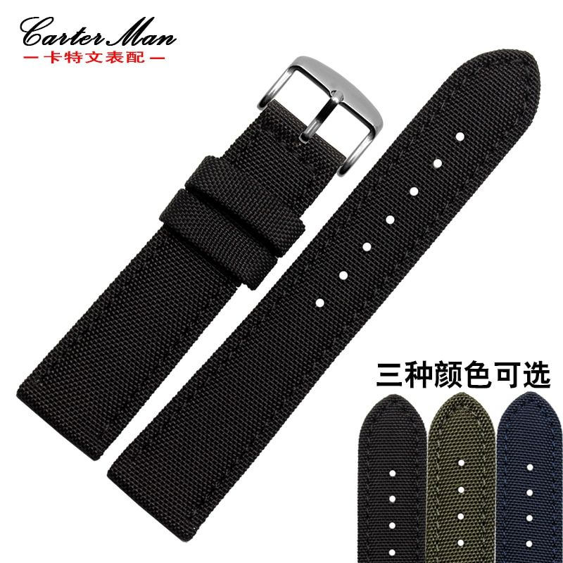 Neue nylon armband 18mm 20mm 22mm 24mm leinwand + echtes leder innere band schwarz armee-grün blau armband