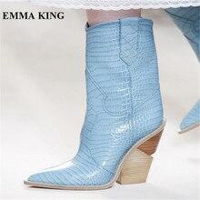 EMMA KING 2018 cuir véritable bout pointu genou bottes hautes femmes Croc serpent imprimer cheval compensées talons Cowboy bottes chaussures femmes