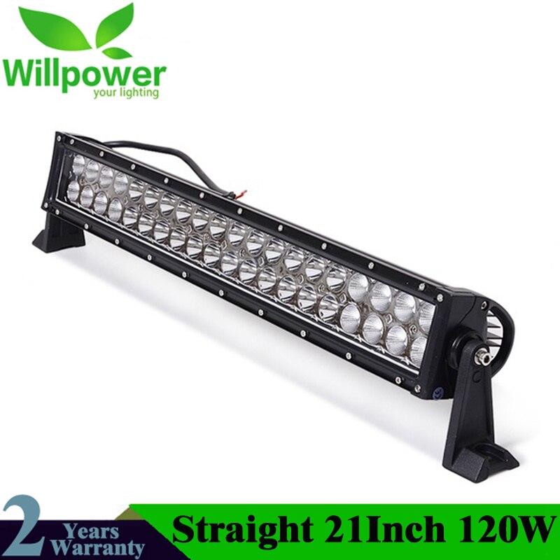 """Alta Potencia recta 24 voltios IP67 impermeable Combo Beam 22 """"doble filas 120w Offroad LED barra de luz LED de 12 voltios trabajo haz de luz"""