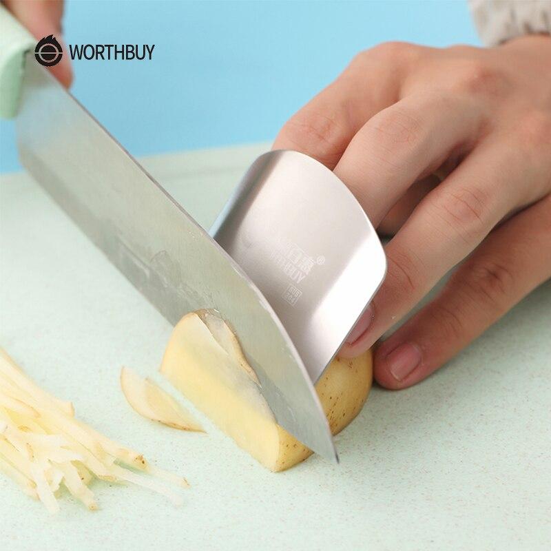 WORTHBUY creativo 304 Protector de dedo de acero inoxidable cocina dedo guarda para Cuchillo de corte de dedos dispositivos de cocina de protección
