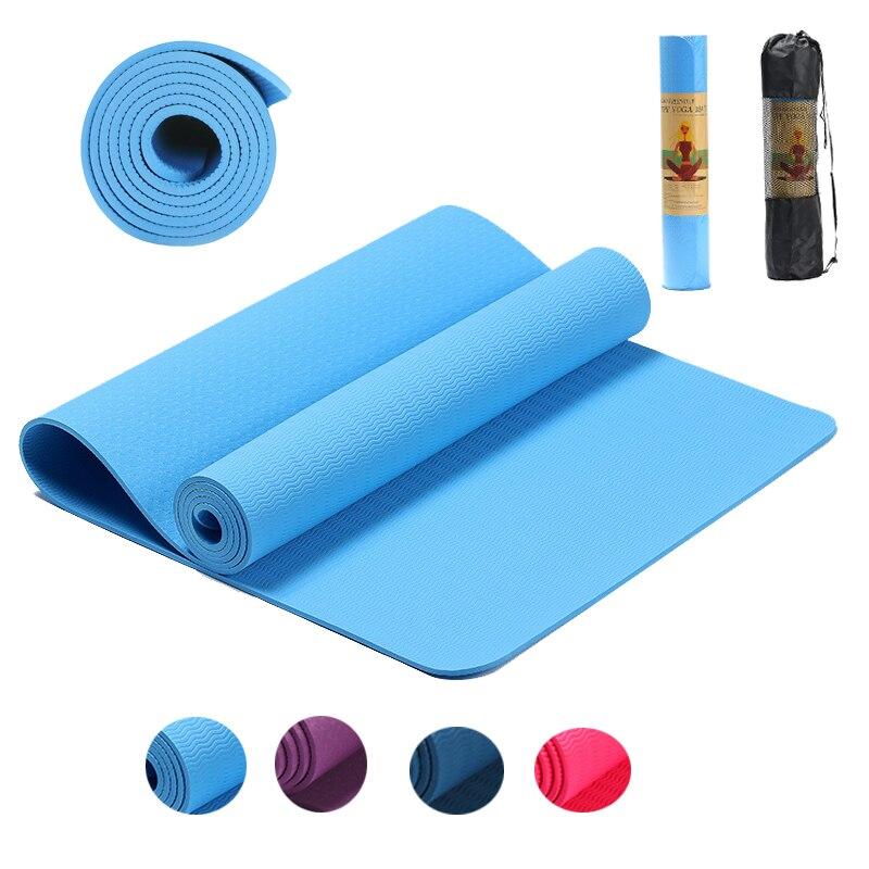 183*61*0.6cm tpe esteira de yoga não deslizamento tapete elástico ginástica pilates esteiras para esporte ao ar livre ginásio exercício fitness insípido almofada