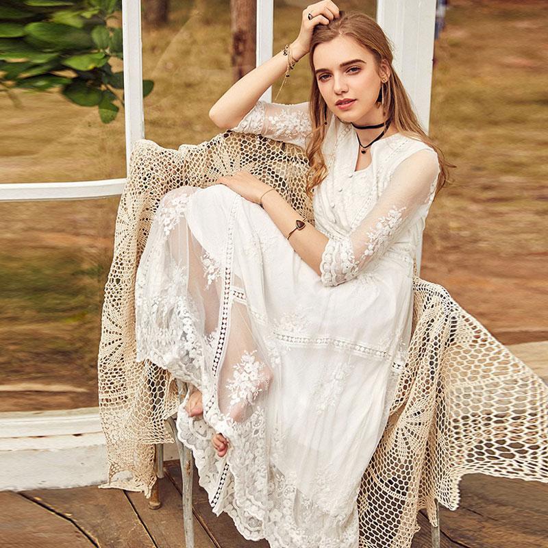 ARTKA Spring New Women Vintage Lace Dress Embroidered Floral High Waist V-neck Lady White Princess Dress LA10983C