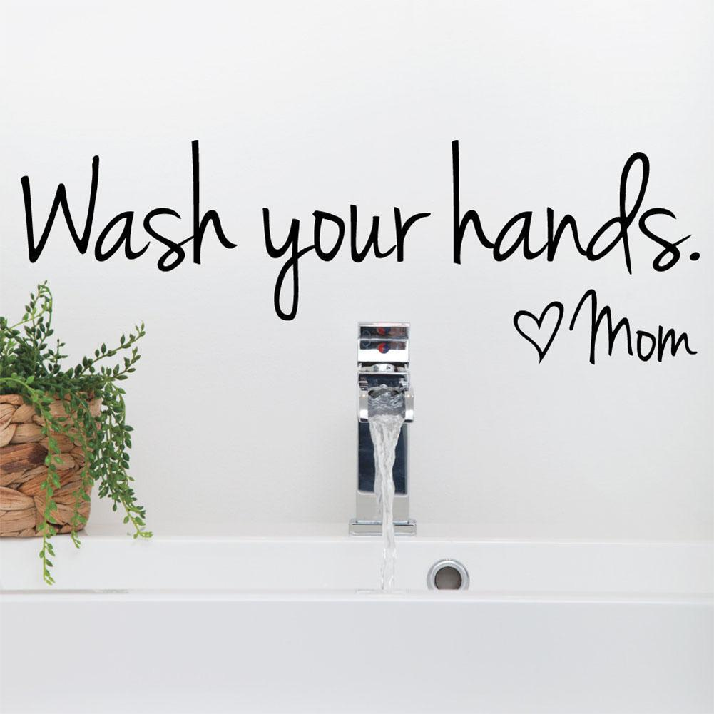 AsyPets baño lavar tus manos amor mamá pared pegatina arte impermeable Calcomanía para el baño del hogar pared decoración-25