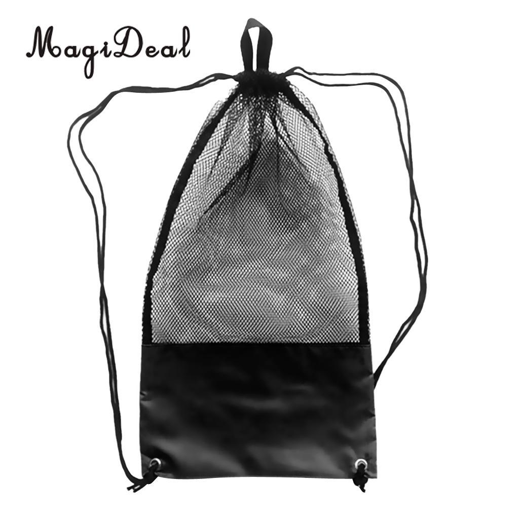 MagiDeal Adjustable Mesh Drawstring Bag for Snorkeling Scuba Diving Fins Goggles Mask Black Beach Sea Kayaking Surfing Equipment