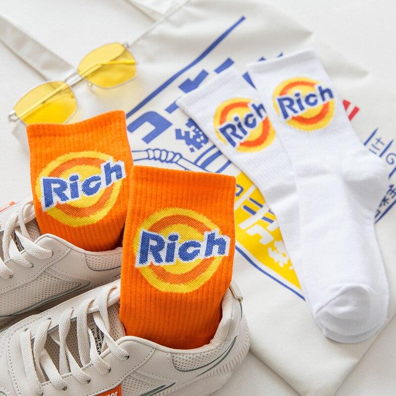 Calcetines divertidos con letras Halajuku para hombre y mujer, calcetines con tacón creativo, Calcetines Unisex para Skateboard callejero sokken