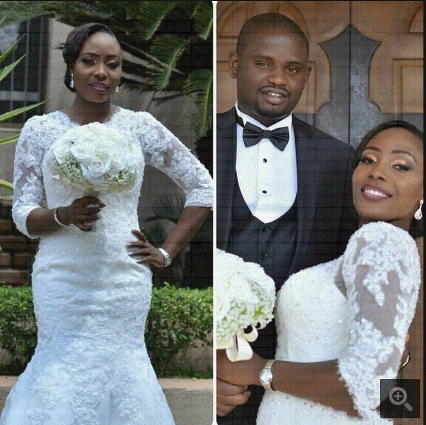 2019 robe de mariage mais recente estilo africano meia mangas sereia vestido de casamento com faixas trem varredura rendas apliques vestidos de noiva