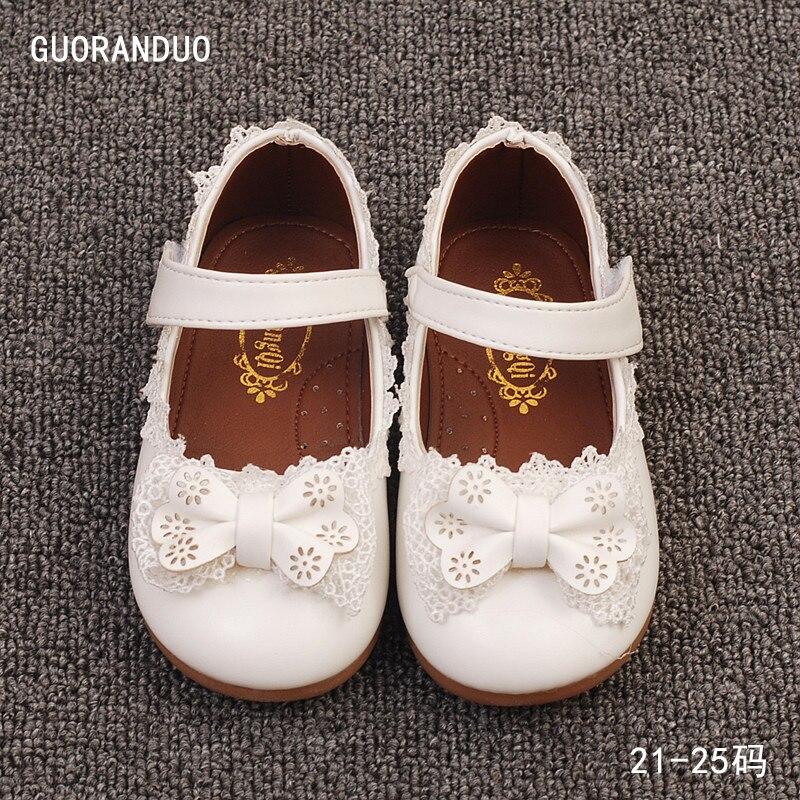 Детские кожаные туфли Bekamille для девочек милая принцесса с бантом и кружевом