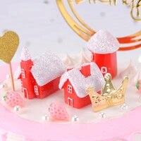 ZOCDOU 1 Piece Belle Hiver Cadeau De Noel Rouge Maison Heureux Villas Maison Ornement Petite Statue Petite Figurine Artisanat Mignon Deco