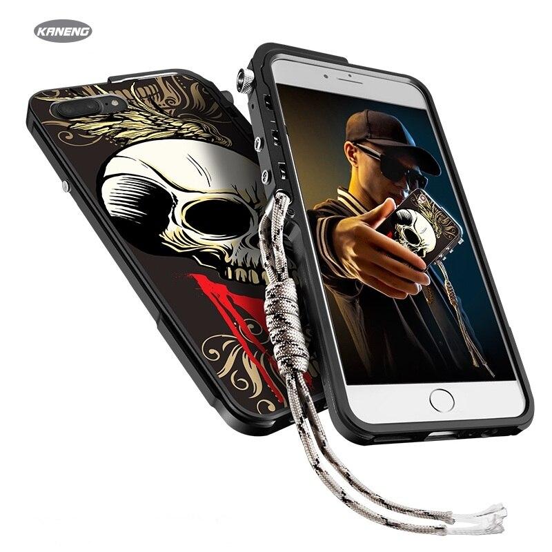 KANENG-جراب هاتف خلوي مقاوم للصدمات من الألومنيوم والمعدن ، جراب أخضر لهاتف Apple iPhone 7 7Plus 8 8Plus ، ممتص الصدمات 4 ألوان