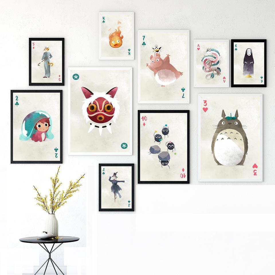 Pintura decoración del hogar impresión HD personajes Ghibli Anime lienzo Poster cuadros modulares Estilo nórdico moderno para arte de pared de salón